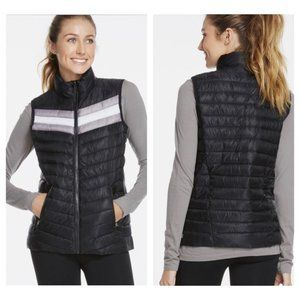 Fabletics Quilted Puffer Fenway Vest Size S Black Zip Pockets Stand Up Collar